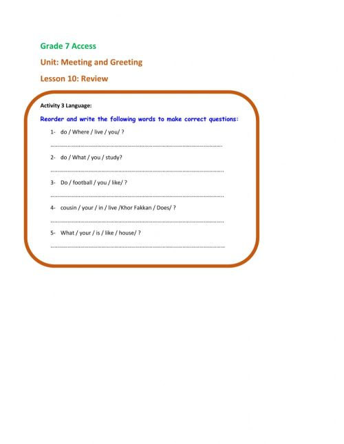small resolution of Grade 7 Access-Meeting \u0026 Greeting-Lesson 10-Reorder words worksheet