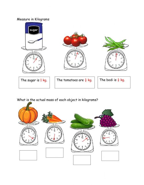 small resolution of Measuring in kg worksheet