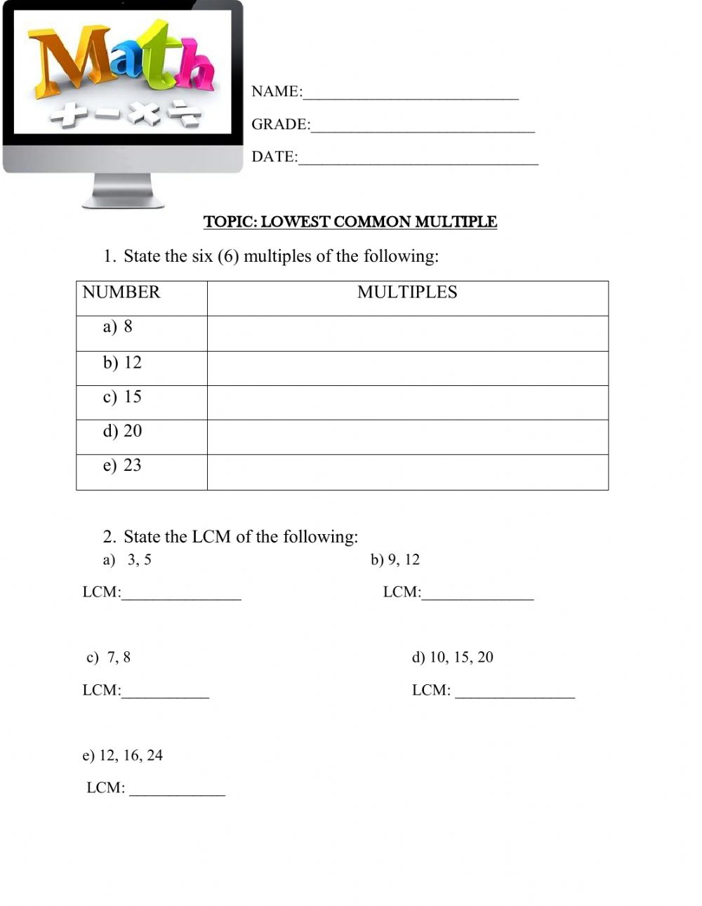 hight resolution of Multiples and LCM worksheet