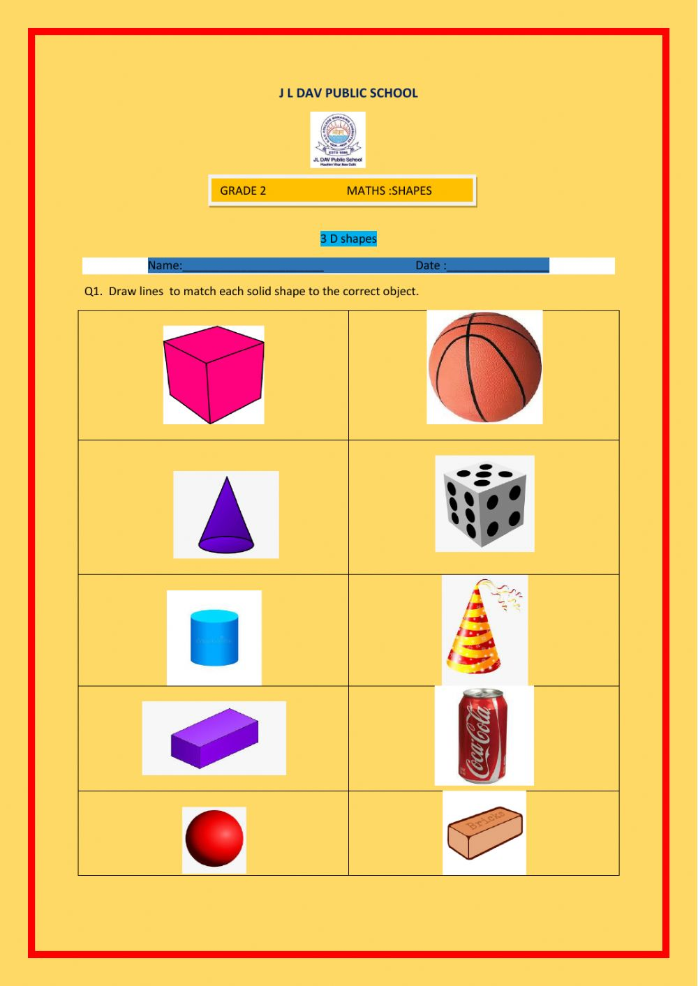 hight resolution of 3 D shapes worksheet