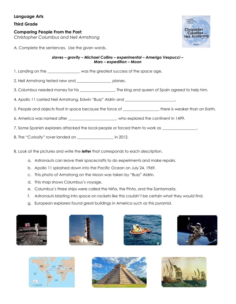 hight resolution of Christopher Columbus and Neli Armstrong interactive worksheet