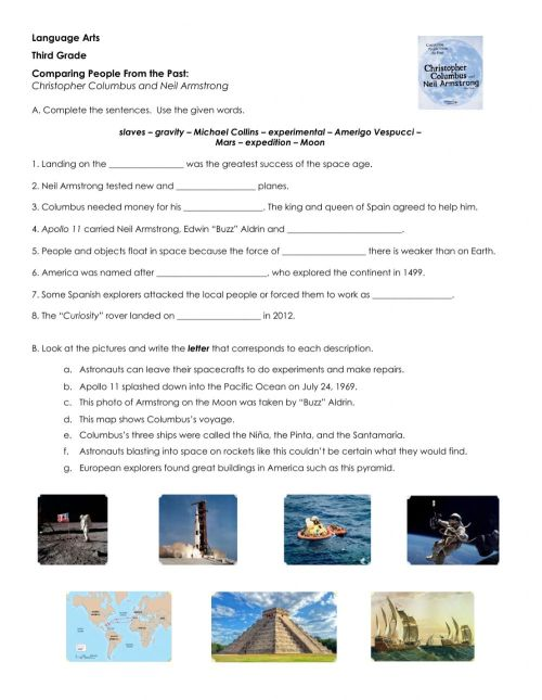 small resolution of Christopher Columbus and Neli Armstrong interactive worksheet