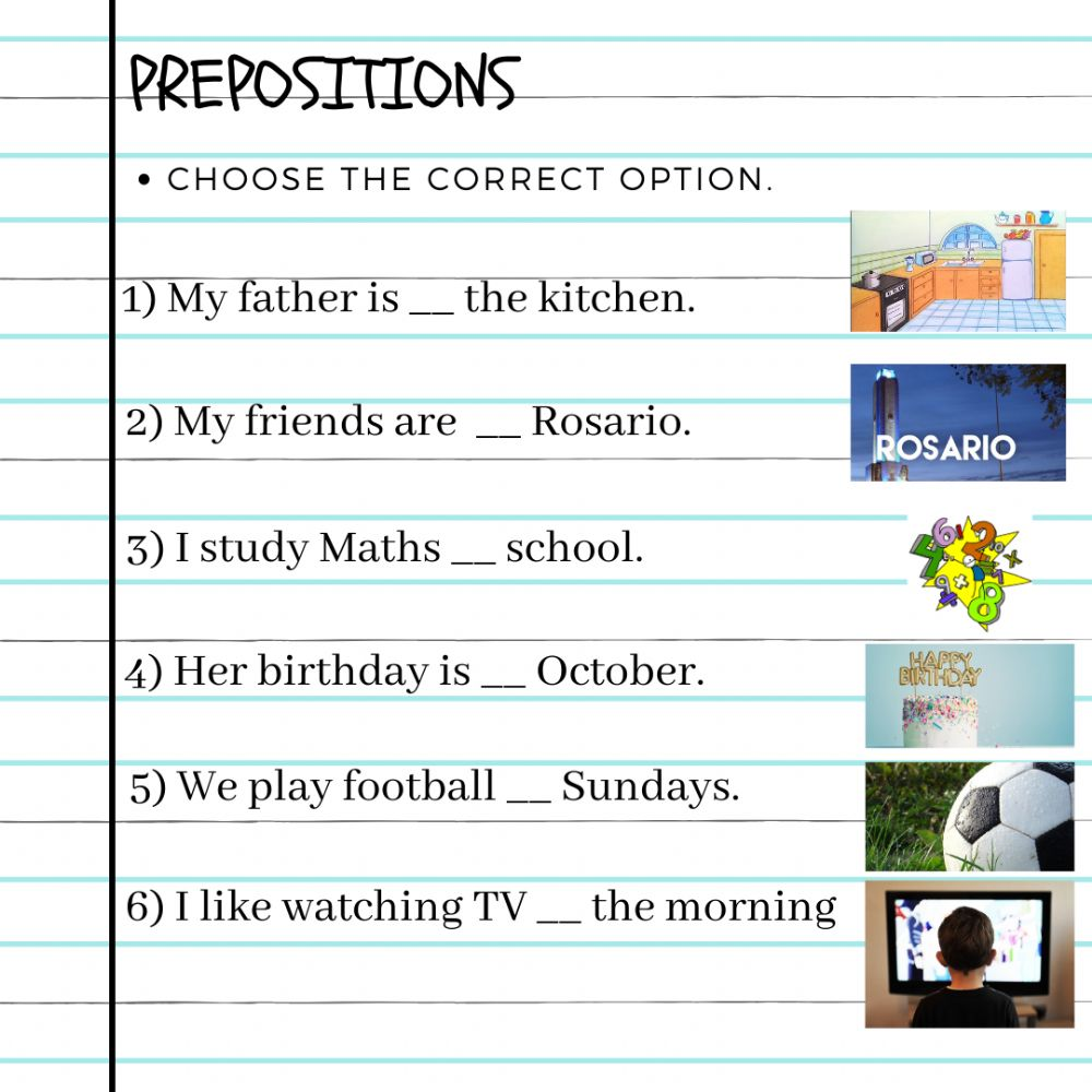 hight resolution of Prepositions online exercise for GRADE 6