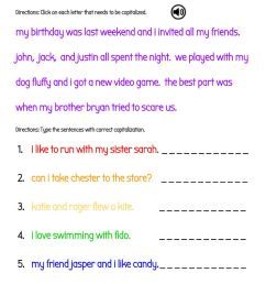 Capitalize the Names of People and Pets in Sentences worksheet [ 1291 x 1000 Pixel ]