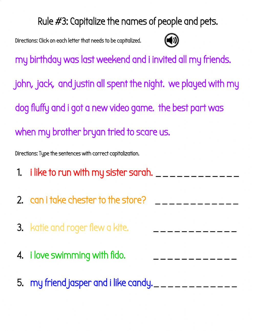 hight resolution of Capitalize the Names of People and Pets in Sentences worksheet