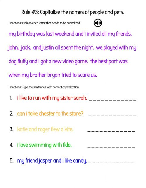small resolution of Capitalize the Names of People and Pets in Sentences worksheet