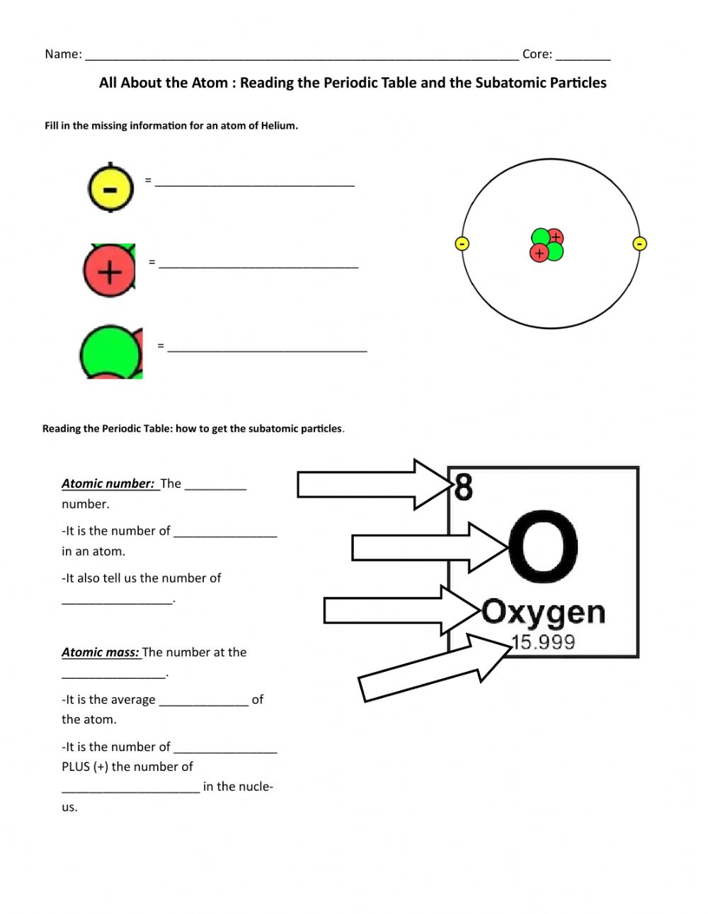 medium resolution of All About The Atom Notes: How to Find the Subatomic Particles worksheet