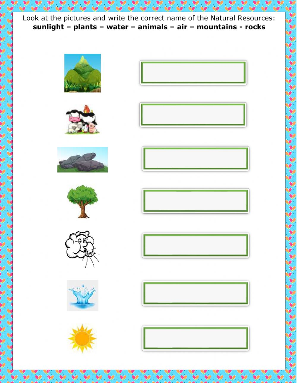 medium resolution of Natural Resources worksheet for 2nd grade