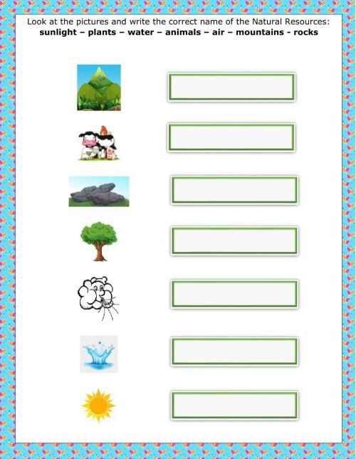 small resolution of Natural Resources worksheet for 2nd grade