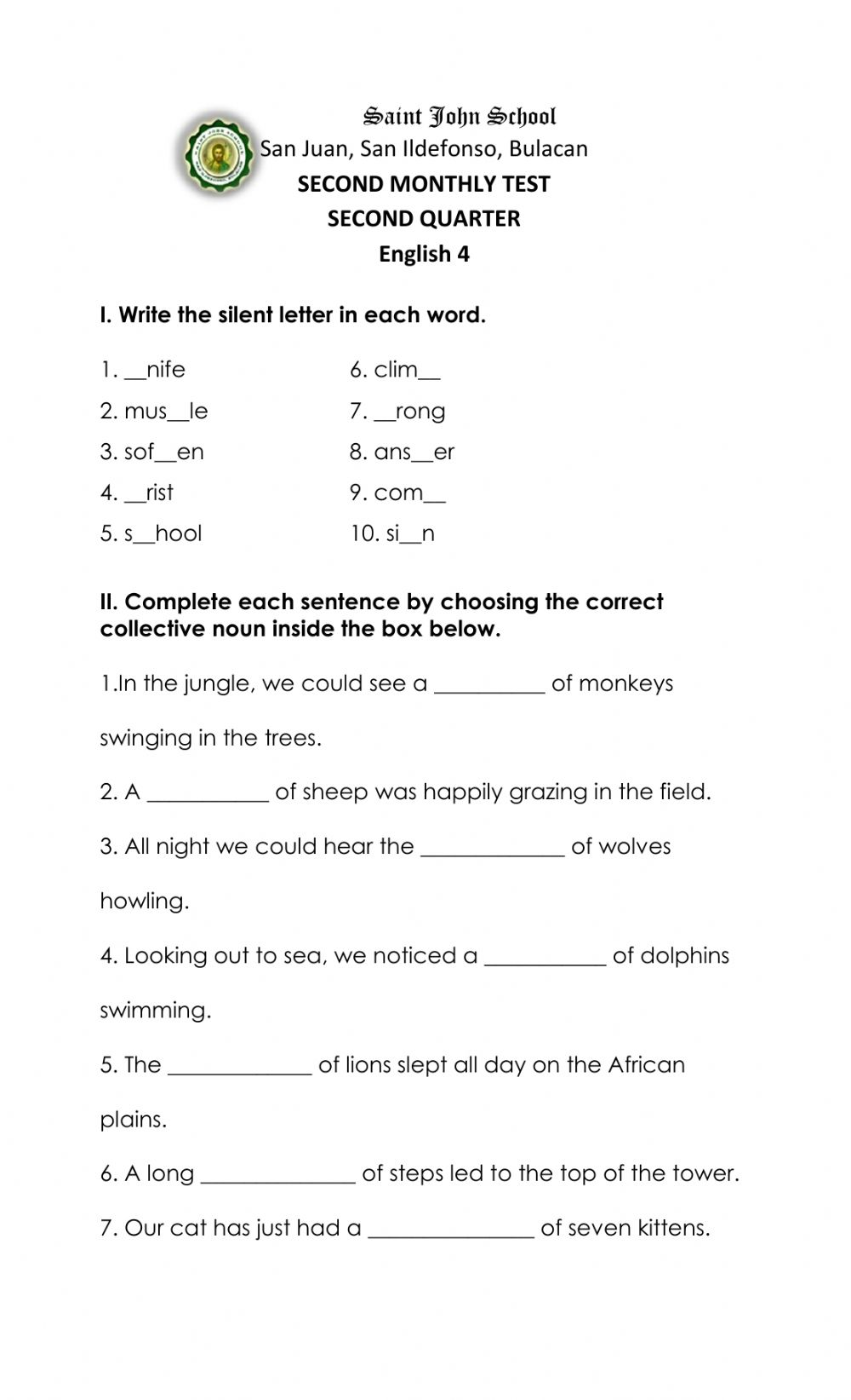 medium resolution of English 2nd Monthly Test worksheet