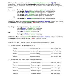 AG2 prepositions in adjectives clauses worksheet [ 1291 x 1000 Pixel ]