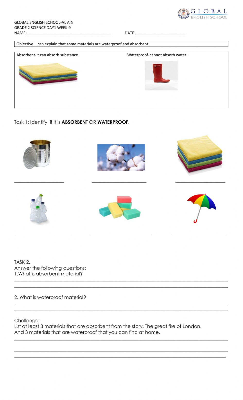 hight resolution of Materials-absorbent and waterproof worksheet