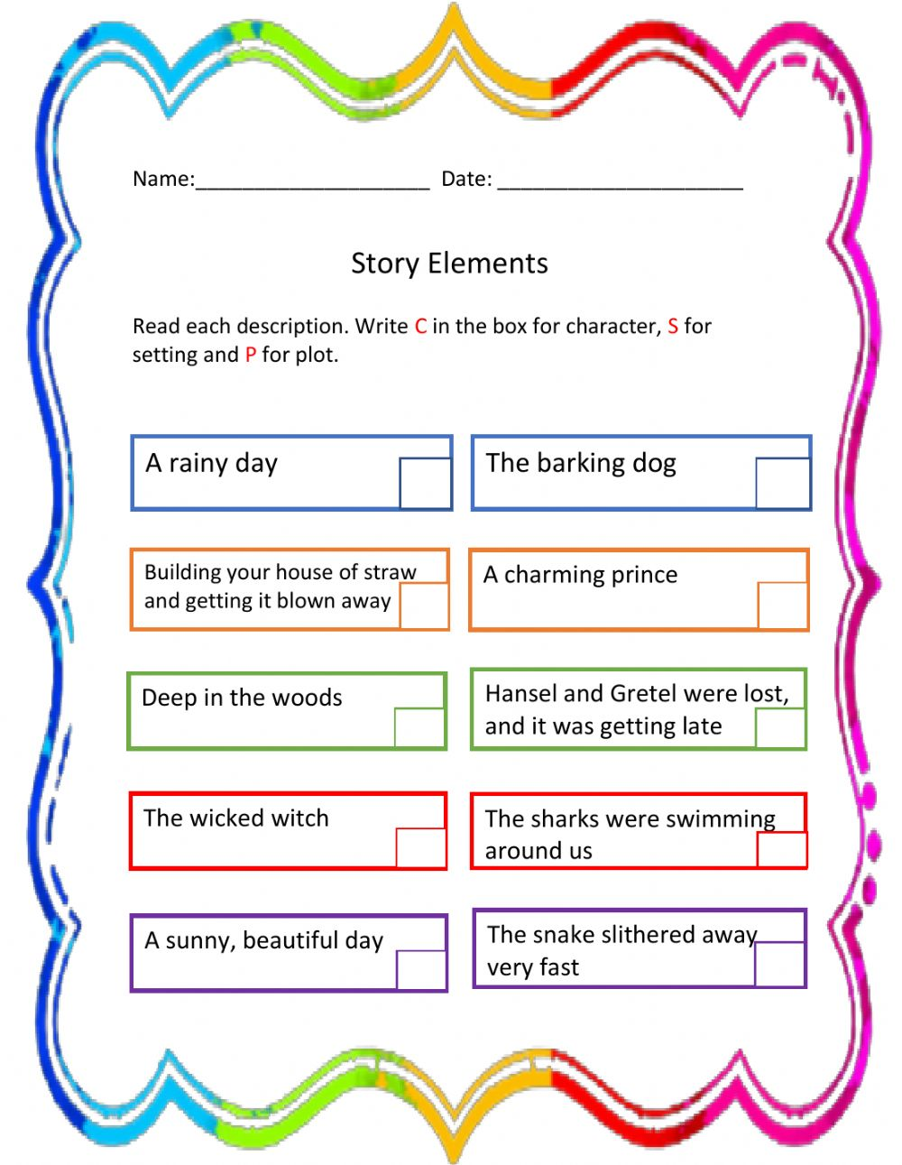medium resolution of Story Elements exercise for 3