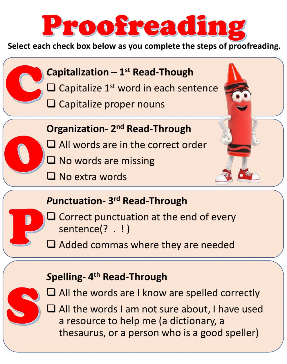 hight resolution of The Day the Crayons Quit Proofreading Checklist worksheet