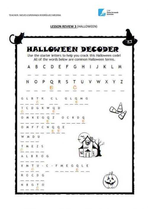 small resolution of Halloween online activity for 6TH GRADE