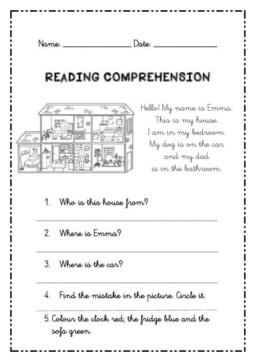 small resolution of Reading Comprehension for 2nd grade worksheet