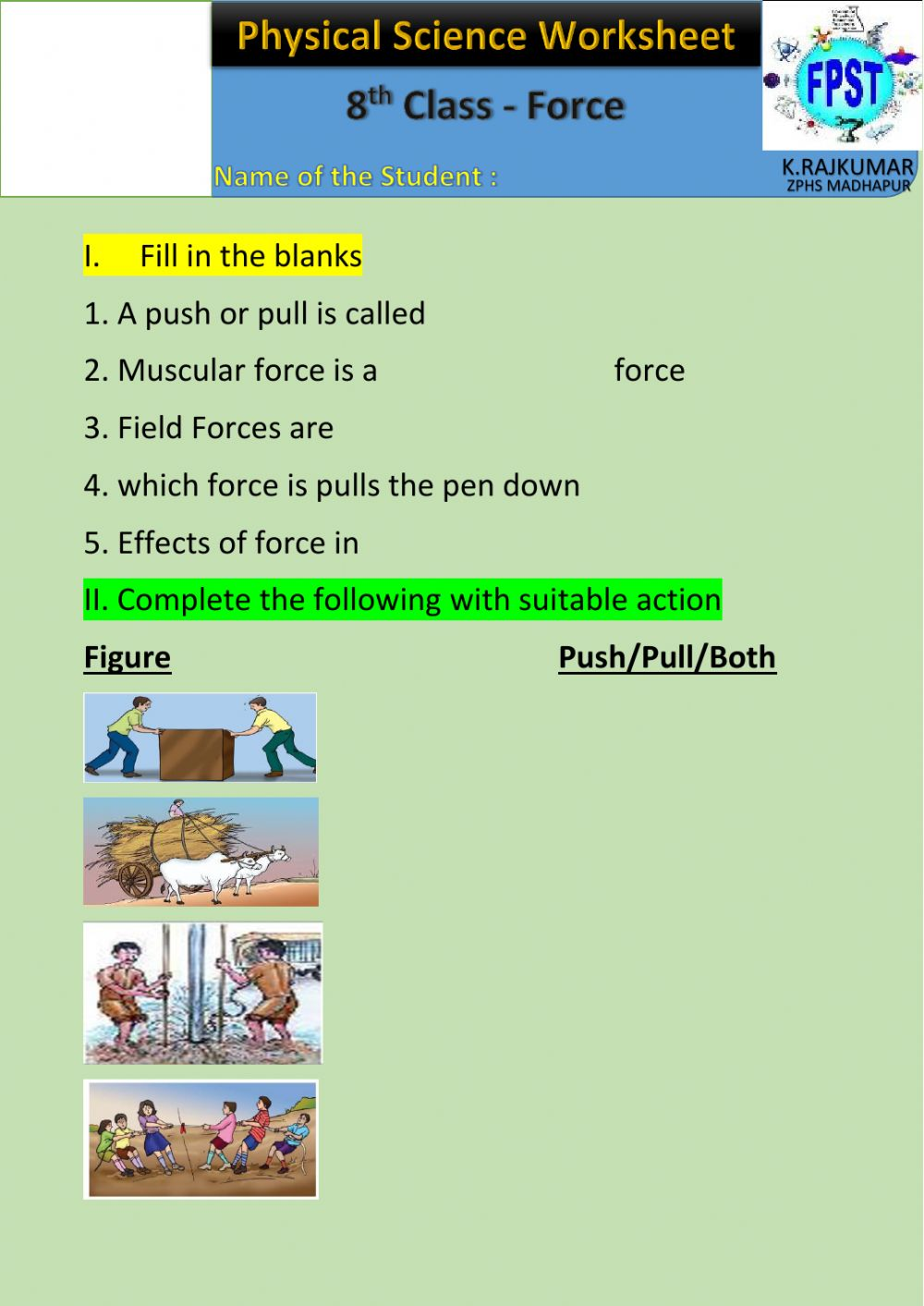 hight resolution of Force online exercise