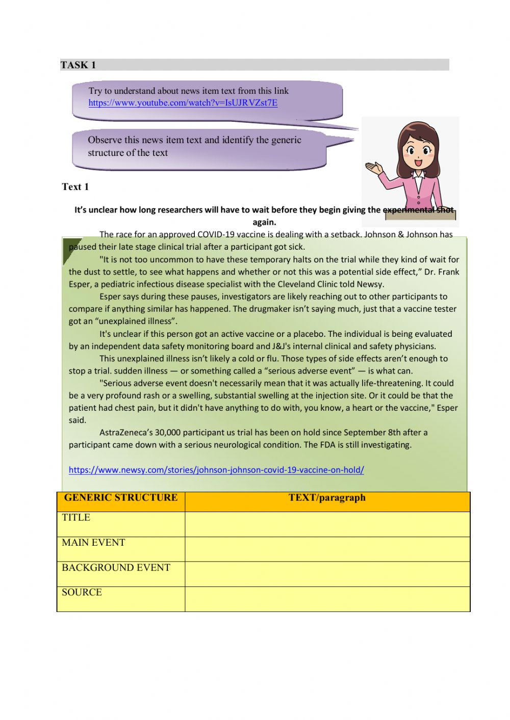 Generic Structure Of News Item : generic, structure, Interactive, Worksheet
