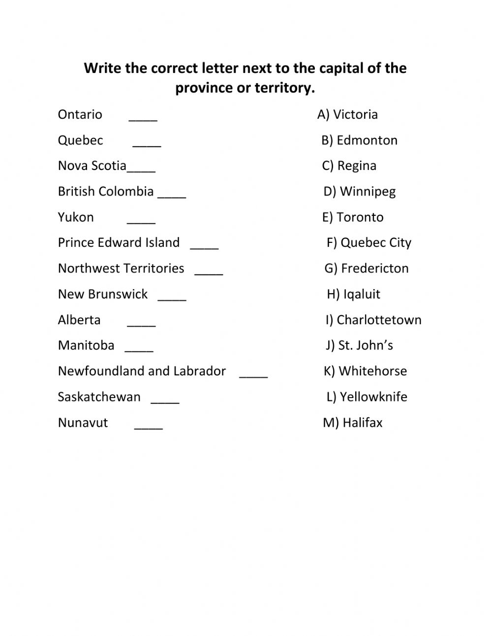 medium resolution of Capitals of Canadian Provinces and Territories worksheet