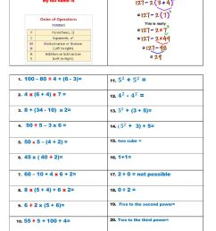 Order of Operation with Exponents and Parentheses worksheet [ 1291 x 1000 Pixel ]