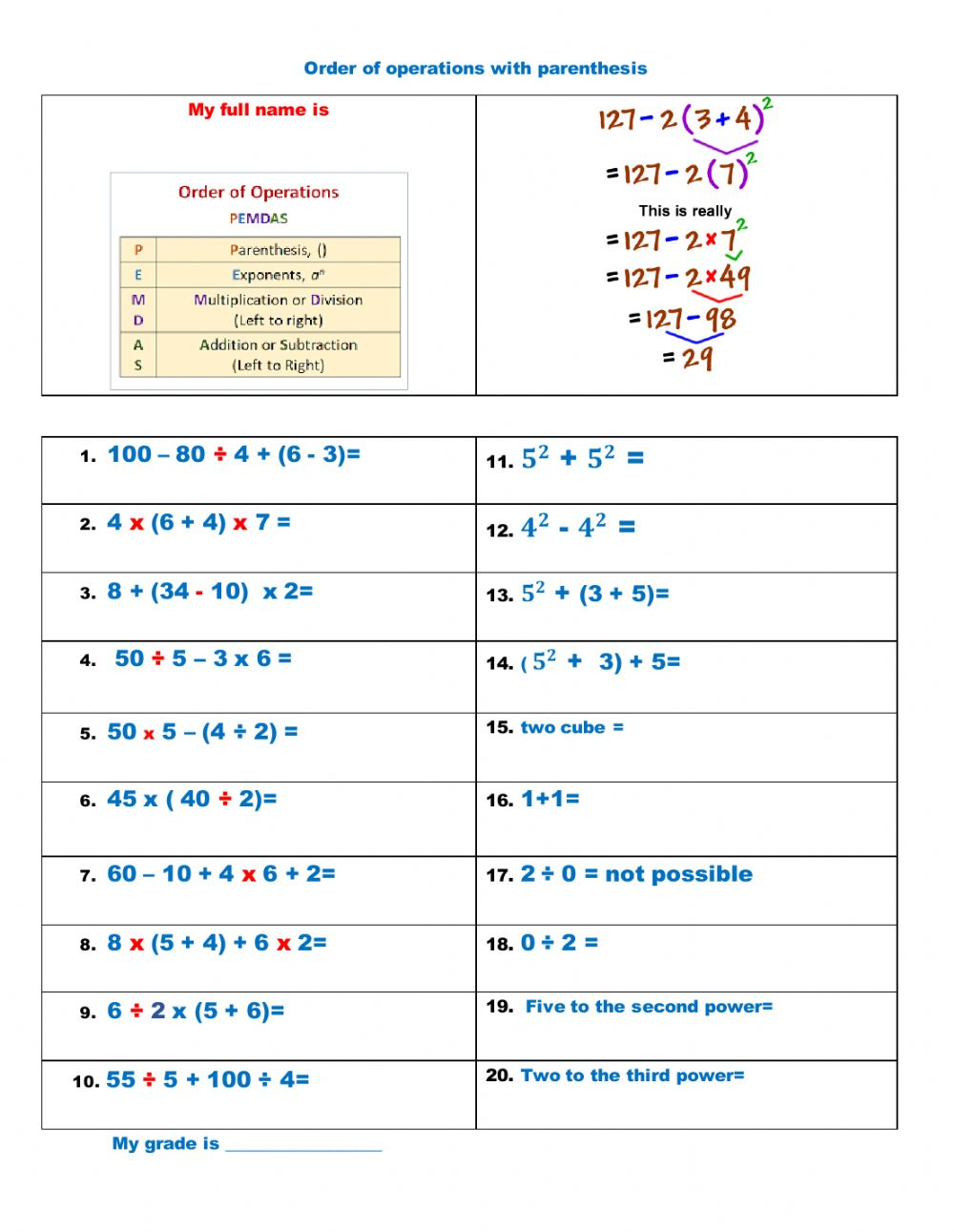 hight resolution of Order of Operation with Exponents and Parentheses worksheet
