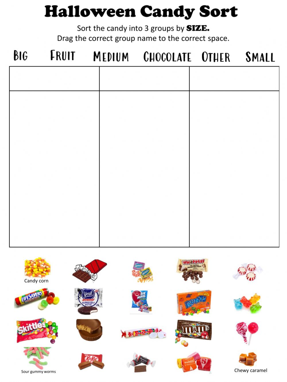 hight resolution of Candy Sorting worksheet
