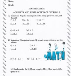 Adding \u0026 Subtracting Decimals worksheet [ 1413 x 1000 Pixel ]