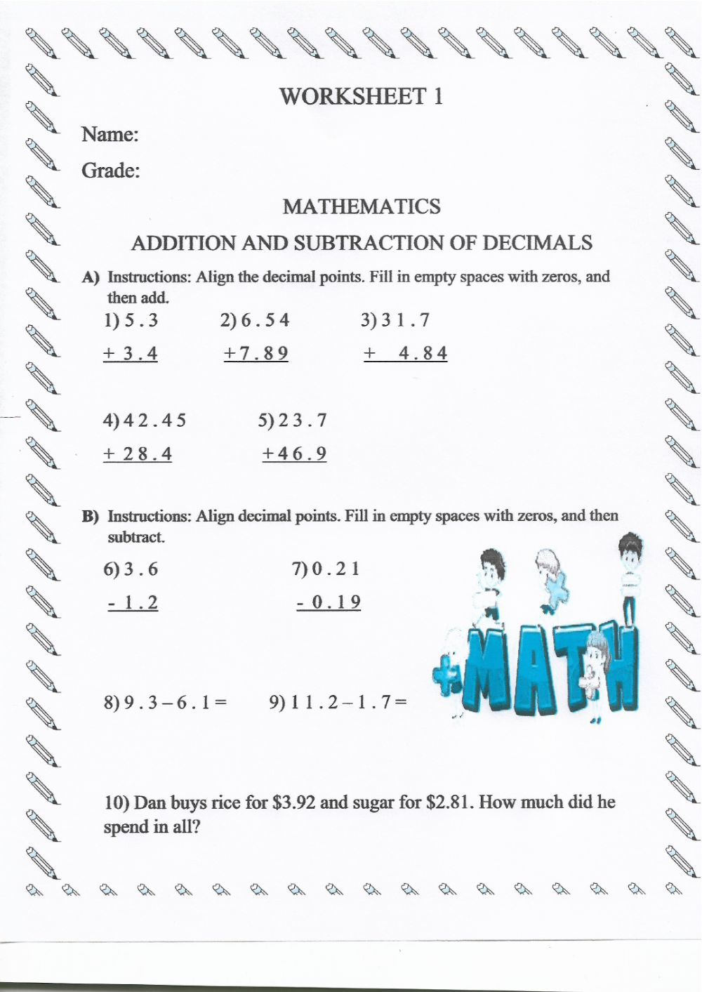 medium resolution of Adding \u0026 Subtracting Decimals worksheet