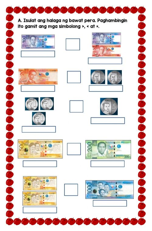 small resolution of Comparing Philippine Money worksheet