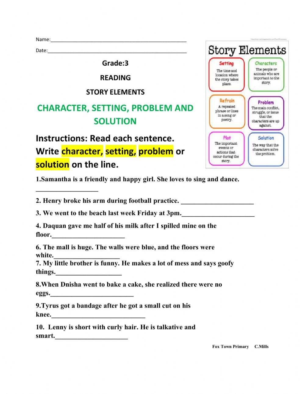 hight resolution of Story Elements online activity for 3