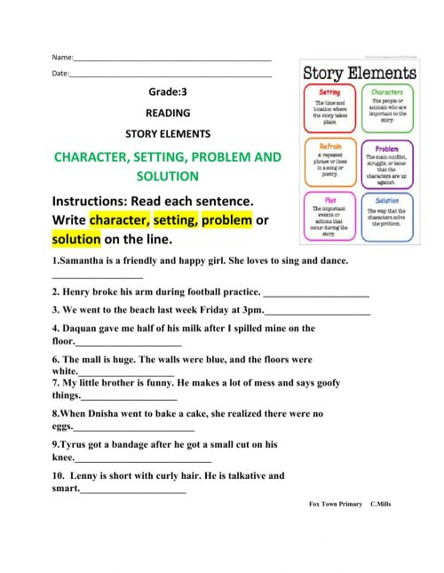 small resolution of Story Elements online activity for 3