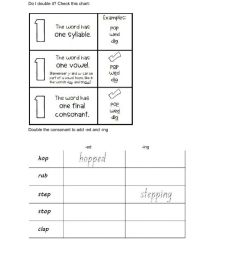 ed -ing ending with double consonant worksheet [ 1291 x 1000 Pixel ]