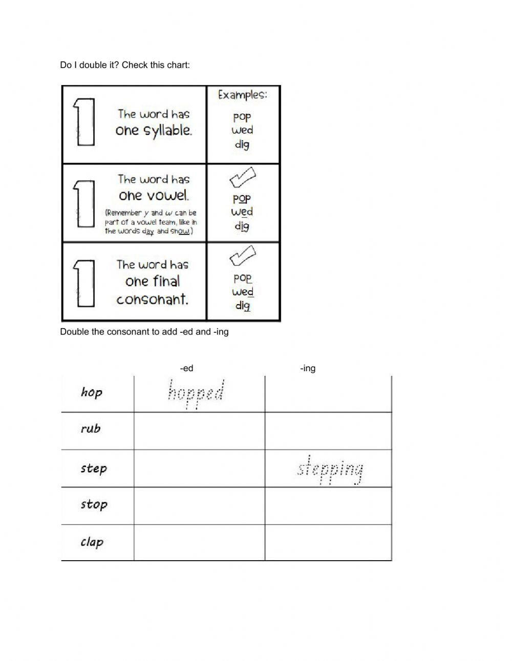 hight resolution of ed -ing ending with double consonant worksheet