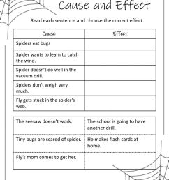 Diary of a Spider Cause and Effect worksheet [ 1294 x 1000 Pixel ]