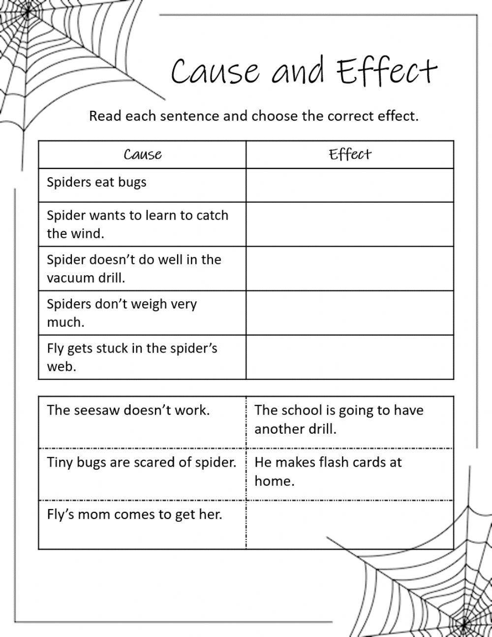 hight resolution of Diary of a Spider Cause and Effect worksheet