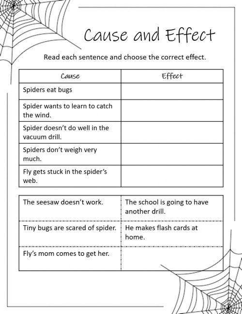 small resolution of Diary of a Spider Cause and Effect worksheet