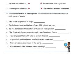 Declarative and Interrogative Sentences online worksheet for Grade 4 [ 1643 x 1000 Pixel ]