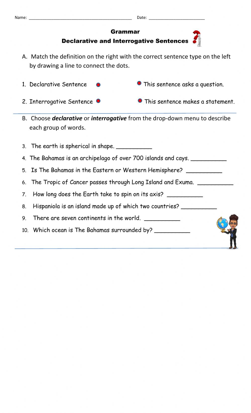 hight resolution of Declarative and Interrogative Sentences online worksheet for Grade 4