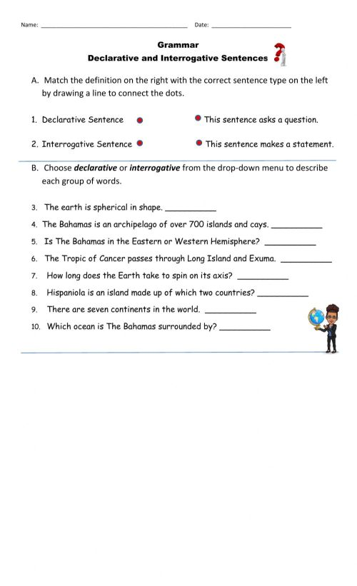 small resolution of Declarative and Interrogative Sentences online worksheet for Grade 4
