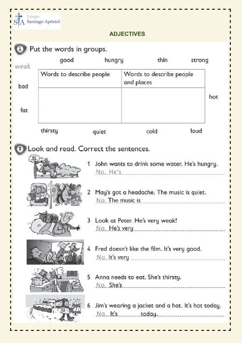 small resolution of Adjectives online exercise for 3rd grade