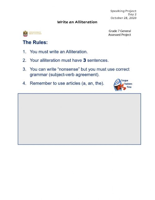 small resolution of Write an Alliteration worksheet
