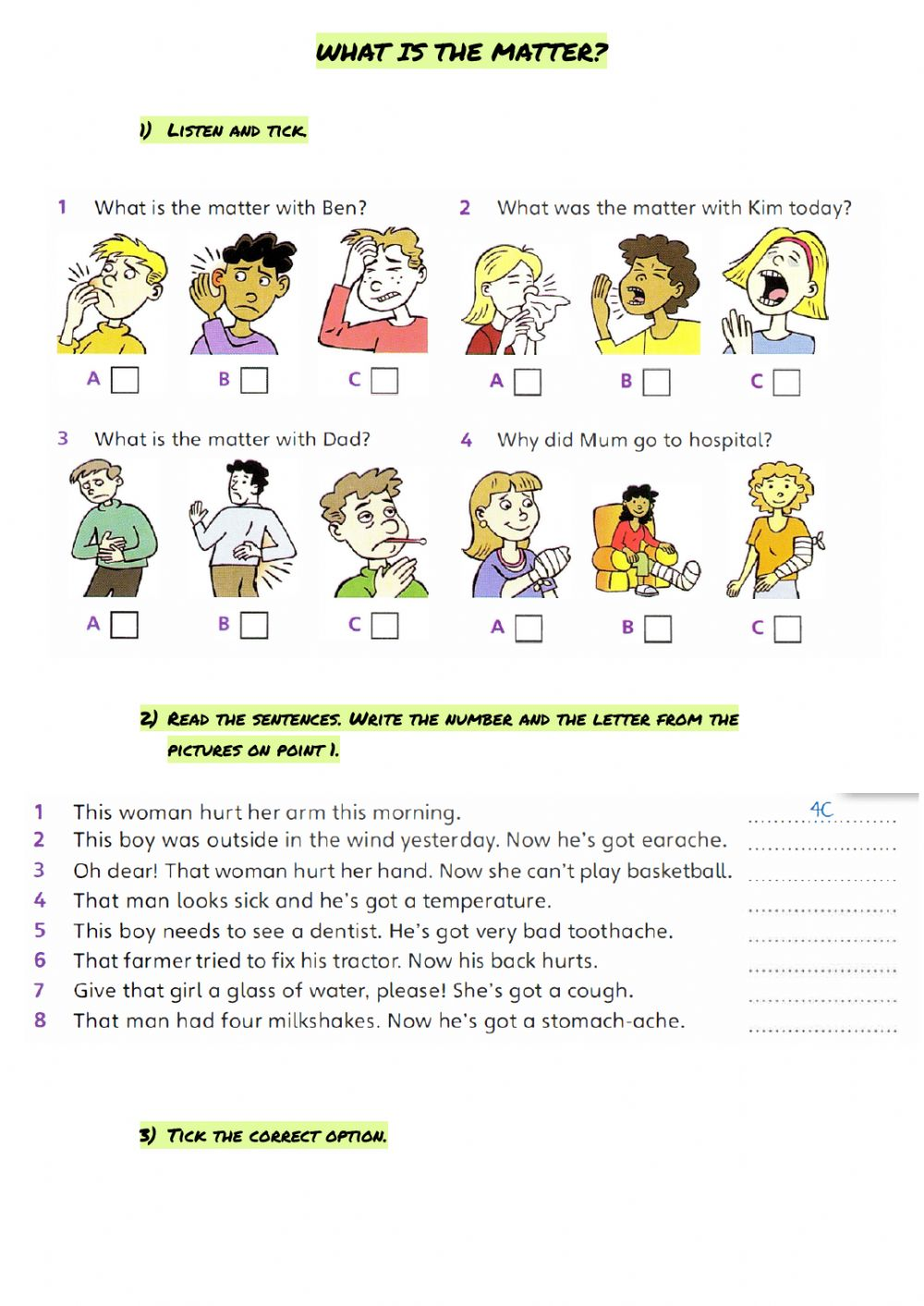 hight resolution of What's the matter? online pdf worksheet