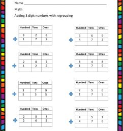 3 - digit addition with regrouping worksheet [ 1291 x 1000 Pixel ]