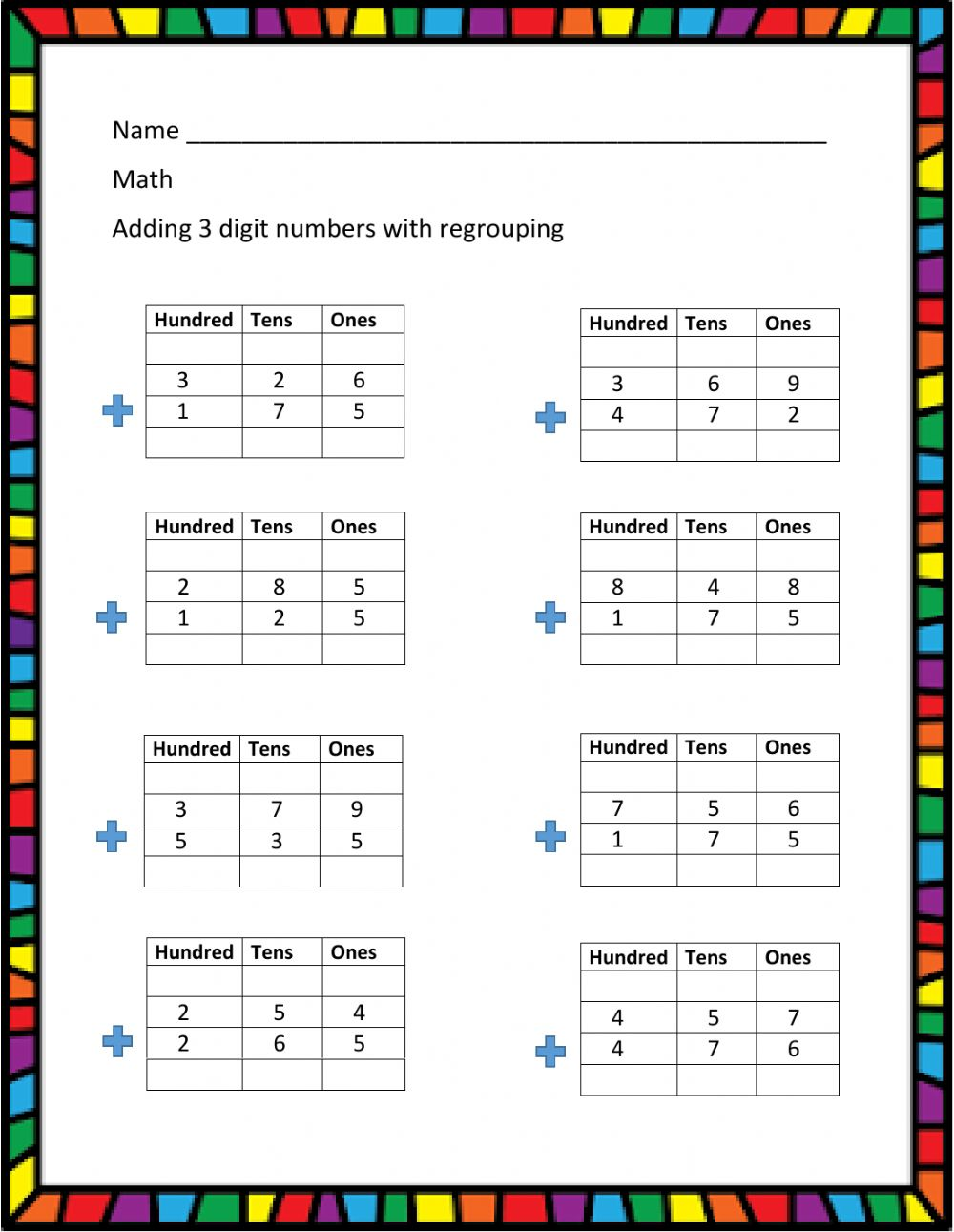 hight resolution of 3 - digit addition with regrouping worksheet