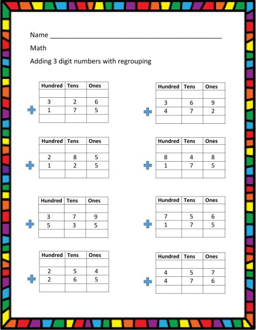 small resolution of 3 - digit addition with regrouping worksheet