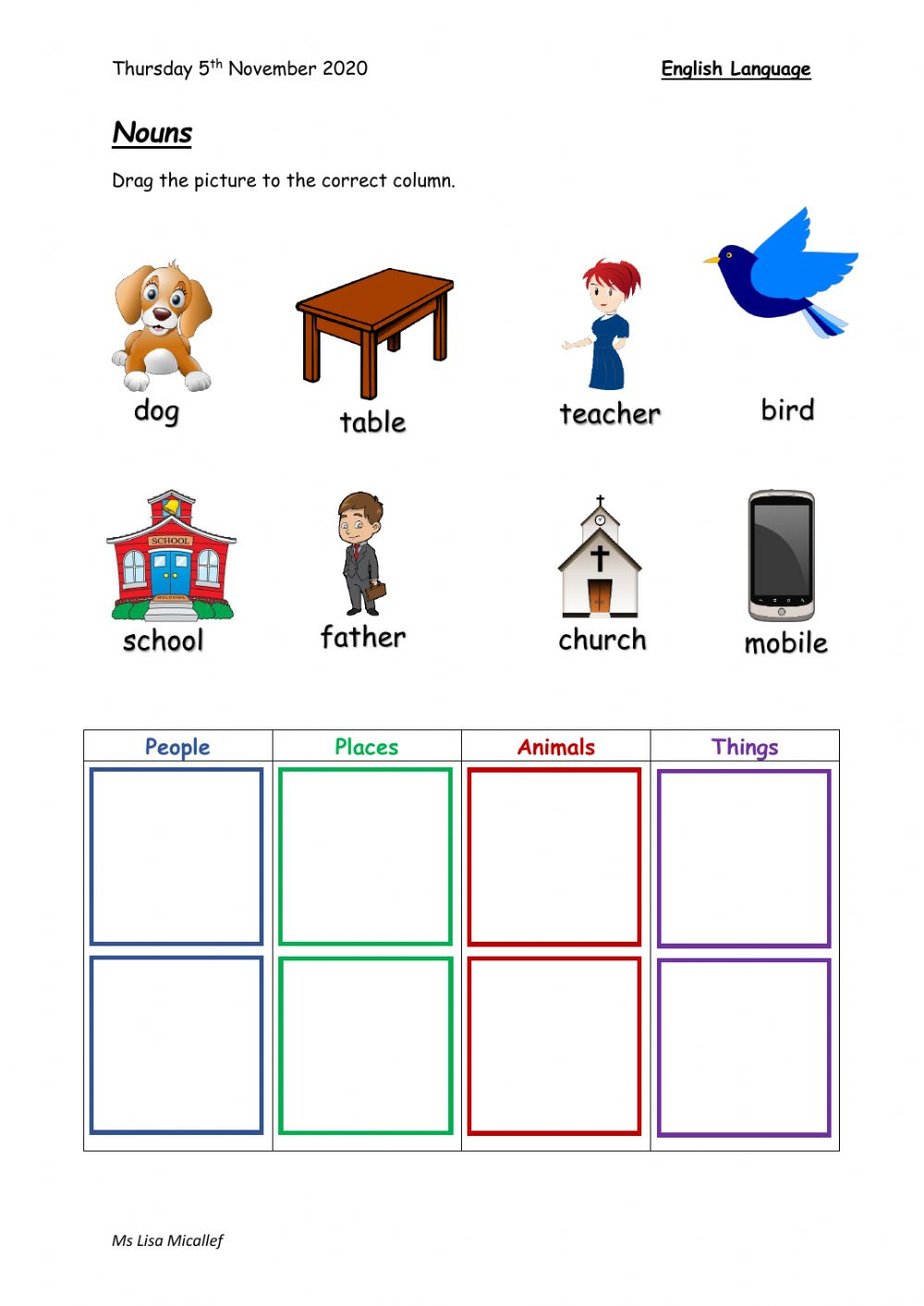 hight resolution of Classifying Nouns worksheet