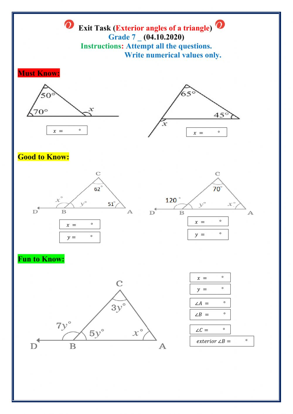hight resolution of Exterior angles of a triangle interactive worksheet