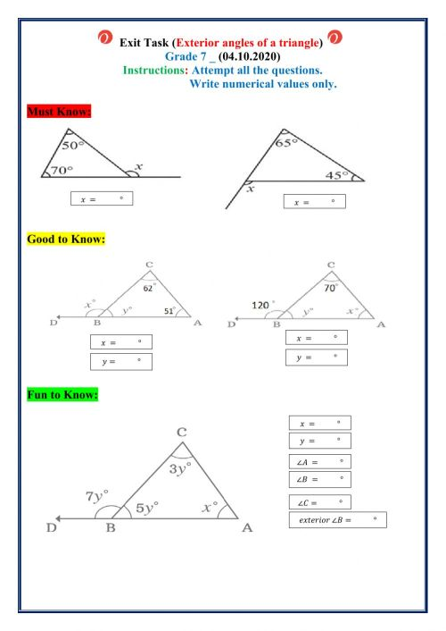 small resolution of Exterior angles of a triangle interactive worksheet