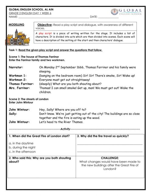 small resolution of Play Script worksheet