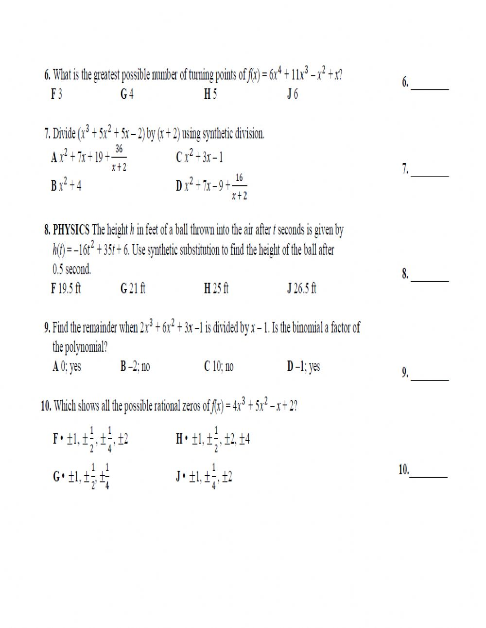 hight resolution of Polynomial functions activity